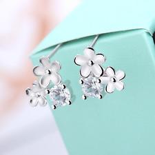 Women's Fashion 925 Silver Plated Flower Crystal Rhinestone Ear Stud Earrings CA