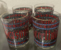 4 Vintage Houze Seasons Greetings Holiday Poinsettia Stained Glass Cups