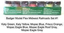 Badger Model Flex 1707 Midwest Railroads #1 (7) 1 oz Acrylic Paint Bottle Set