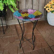 "Sunnydaze Bird Bath Bowl and Stand with Mosaic Petals Glass Tile - 14"" Diameter"