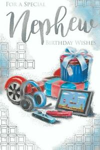 """For a Special Nephew Birthday Card. Large Card 9"""" x 6"""""""