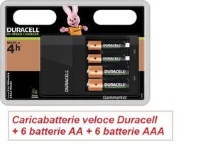 Caricabatterie veloce DURACELL per stilo e ministilo + 6 AA + 6 AAA Ricaricabili