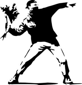 BANKSY THROWING FLOWERS STENCIL REUSABLE FROM A4 180 mc