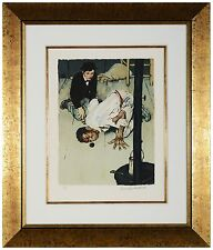 "Norman Rockwell -""Jim Got Down on His Knees"" Hand-signed lithograph, Framed"