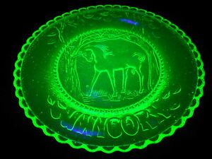 Green Vaseline glass Unicorn plate tea cup horse uranium pony saucer tray animal