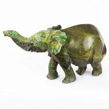 Handgeschnitzt Afrikanisch Elefant Stein Skulptur - Dunkel Grün Stein - 15 cm
