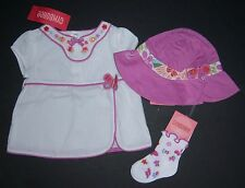 NWT Gymboree Tea Garden 6-12 Months Butterfly Embroidered Flower Top Socks & Hat