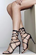VALENTINO GARAVANI rockstud lace up heels gladiator strap sandals shoes 36.5 NEW