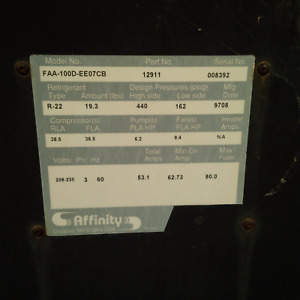 Affinity Chiller Model No FAA-100D-EE07CB Working Condition Unknown As Is