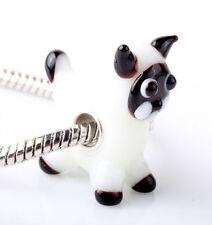 1pcs SILVER MURANO GLASS BEAD LAMPWORK Animal fit European Charm Bracelet DW307