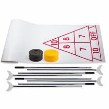 Economy Shuffleboard Set: Indoor Outdoor Game 15ft Shuffleboard w/ Cues & Discs