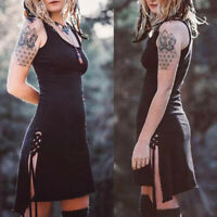 ❤️ Women Punk Gothic Strappy Skater Evening Clubwear Party Sleeveless Mini Dress