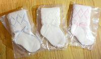 NWT Will'beth Knit Ribbon Socks Baby Booties Newborn 0-3 White Pink OR Blue