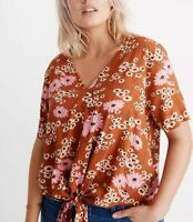 Madewell Novel Tie-Front Top In Hillside Daisies NWT Sz L