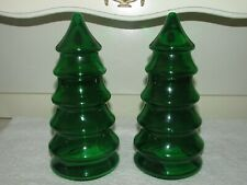 2 LE SMITH GLASS GREEN GLASS CHRISTMAS TREE 2-PART JARS - FLASHED
