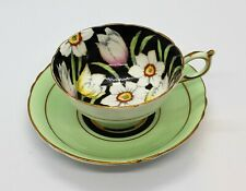 PARAGON LIGHT GREEN & BLACK FOOTED FLORAL CUP & SAUCER HAND PAINTED