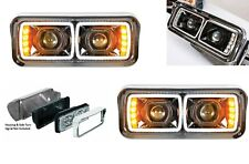 """Pair High Power LED """"Blackout"""" Headlights W/ LED Turn Signals, 4"""" x 6"""" Headlamps"""