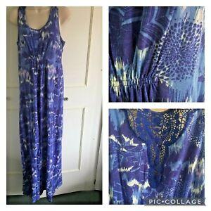 MANTARAY blue jersey comfort maxi dress - Size 12