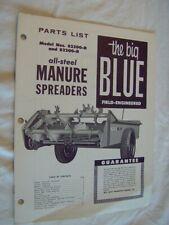 Ford Manure Spreaders 82200 D R Parts List Book Farm Tractor Garden Big Blue