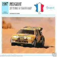"PEUGEOT 205 TURBO 16 ""GRAND RAID"" 1987 CAR VOITURE FRANCE CARTE CARD FICHE"