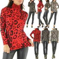 NEW SEXY LEOPARD PRINT TURTLENECK TOPS women CASUAL Polo neck Top Size 6 8 10 12