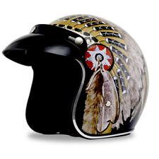 Motorcycle Helmet Open Face Indian Style Vintage Harley Cruiser Scooter Biker