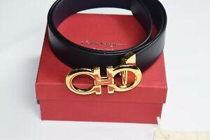 Adjustable Salvatore Ferragamo Black Calfskin Leather Belt Gold Buckle
