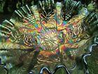 Fenton LOTUS & GRAPE ANTIQUE CARNIVAL ART GLASS 3/1 EDGE BOWL~GREEN~GORGEOUS!