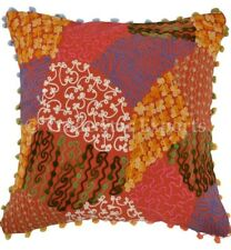 """16"""" Boho Suzani Cushion Cover Embroidery Pillows With Pom Pom Lace Pillow Sham"""