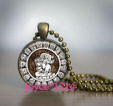 Vintage Mayan Cabochon bronze Glass Chain Pendant Necklace #862