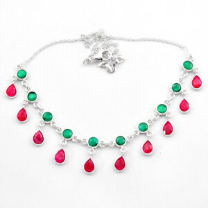 DISCOUNT SALE 22.09cts Natural Green Emerald Red Ruby 925 Silver Necklace T40585