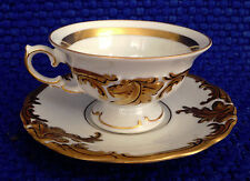 Set of 6 Antique/Vintage Gold Embossed Demi-Tasse Cups w/Saucers by KPM Poland