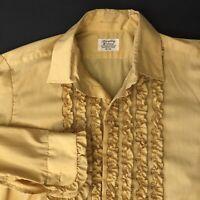 Vtg 60s 70s Lion Of Troy Tuxedo Shirt YELLOW Ruffles TUX Prom MENS 16 M/L