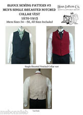 Mens Victorian Notched Collar Vest 1870-1915 Laughing Moon Bijoux Sewing Pattern
