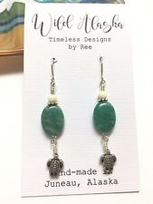 Made in Alaska Amazonite Gemstone Turtle Dangle Drop Earrings
