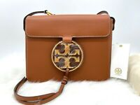 AUTH NWT Tory Burch Women's Miller Logo Smooth Leather Crossbody In Aged Camello