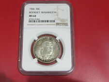 1946 50c Booker T. Washington silver coin, NGC MS64, great toning