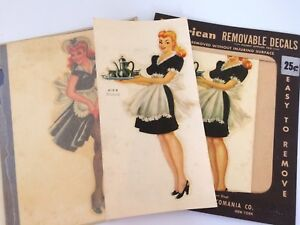 Vintage Decal 40s Pin Up Girls Maid Risqué Girly Transfers American Decalcomania