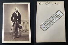 Barrère, Paris, Le politicien Henry John Temple Vintage cdv albumen print CDV,