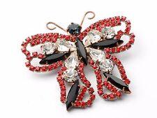 Vintage large Czech handmade glass rhinestone beaded butterfly pin brooch black