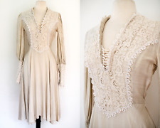 Vintage Victorian Style WEDDING DRESS//Creamy Linen and Lace//Bohemian Wedding
