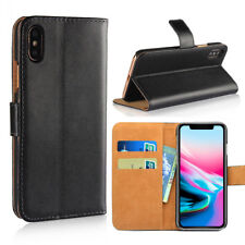 For Apple iPhone XS Max XR Genuine Leather Flip Wallet Magnetic Stand Card Case