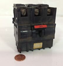 FEDERAL PACIFIC 30A 3-POLE CIRCUIT BREAKER NA LB-589 / CU-AL