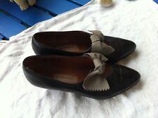 ACCESSOIRE Diffusion Escarpins cuir noir noeud papillon gris talon 4 CM T 36