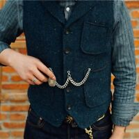Retro Men's British Style Casual Wool Blend Tweed Slim Fit Vest Waistcoat Vest