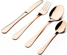 Sabichi Glamour 16 Piece Stainless Steel Copper Cutlery Set. Gift Boxed.