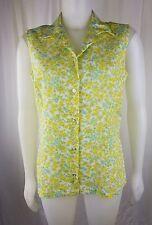 Vintage Yellow Summer floral Glenbrooke Penn-Prest 16/38 60s tank button blouse