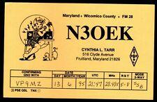 """QSL QSO RADIO CARD """"Cynthia L. Tarr,Age 36,N30EK"""", Maryland, USA (Q3752)"""