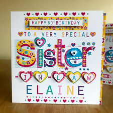 Sister in law birthday card Personalise Special birthday card for Sister-in-law
