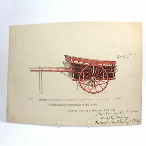 Antique colour lithograph print Coach Builders & Wheelwrights Art Journal 1145